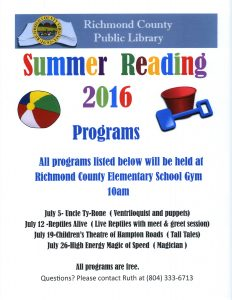 Summer Reading Event: High Energy Magic of Speed (Magician) @ Richmond County Elementary School Gym   Warsaw   Virginia   United States